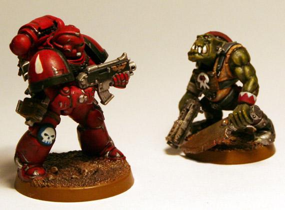 Artscale Space Marine versus Ork Madboy